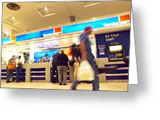 Currency Exchange At An Airport Greeting Card