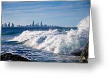 Currumbin Beach Waves On Rocks Greeting Card