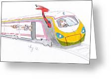 Cute Cartoon High Speed Train And Animals Greeting Card