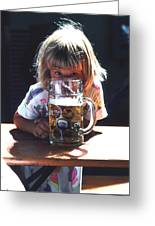 Cute Little Girl At Beer Garden Munich Greeting Card