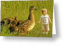 Cute Tiny Boy Playing With Ducks Greeting Card by Jaroslaw Grudzinski