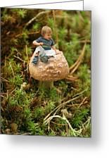 Cute Tiny Boy Sitting On A Mushroom Greeting Card
