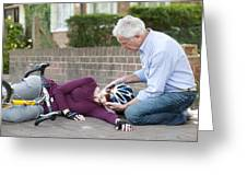 Cycling Accident Greeting Card by
