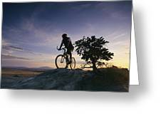 Cyclist At Sunset, Northern Arizona Greeting Card