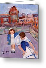 Dad And Me On Rooftop On Hoe Street Brooklyn Greeting Card