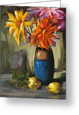 Daisies In Blue Vase Greeting Card by Pepe Romero