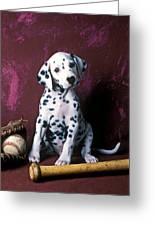 Dalmatian Puppy With Baseball Greeting Card