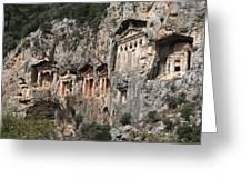 Dalyan Rock Tombs Turkey Greeting Card by Julie L Hoddinott