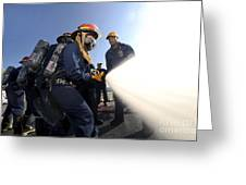 Damage Controlmen Conduct Fire Hose Greeting Card