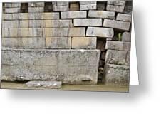 Damaged Wall, Machu Picchu, Peru Greeting Card