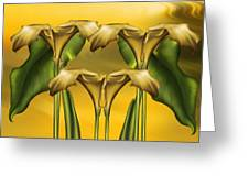 Dance Of The Yellow Calla Lilies Greeting Card