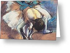 Dancer Fastening Her Pump Greeting Card by Edgar Degas