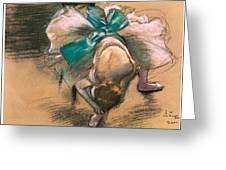 Dancer Tying Her Shoe Ribbons Greeting Card