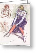 Dancer With Red Stockings Greeting Card