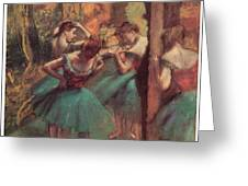 Dancers Pink And Green Greeting Card by Edgar Degas