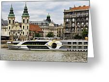 Danube Riverboat In Budapest Greeting Card