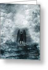Dark Angel Kneeling On Stairway In The Clouds Greeting Card