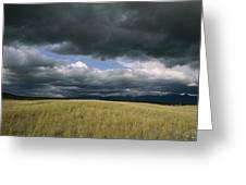 Dark Clouds Gather Over A Prairie Greeting Card