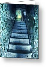 Dark Staircase With Man At Top Greeting Card