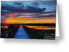 Dawn Skies At The Fishing Pier Greeting Card