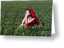 Day Dreams Woman In Red Series Greeting Card