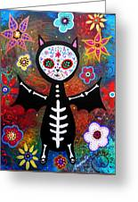 Day Of The Dead Bat Greeting Card