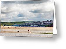 Daymer Bay Beach Landscape In Cornwall Uk Greeting Card