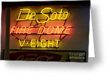 De Soto Fire Dome V Eight Neon Sign Greeting Card