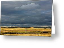 Dead Tree At Dusk With Storm Clouds Greeting Card