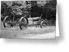 Decaying Wagon Black And White Greeting Card