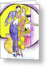 Deco Couple With Vase Greeting Card
