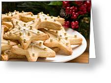 Decorated Christmas Cookies In Festive Setting Greeting Card