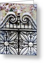 Decorative Iron Gate In Winter Greeting Card