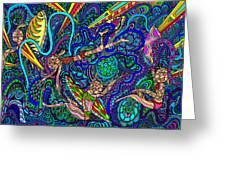 Deep Blue Surfing Greeting Card