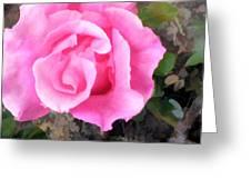 Deep Pink Watercolor Rose Blossom Greeting Card