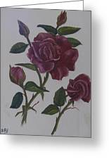 Deep Red Roses Greeting Card