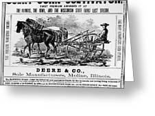 Deere Plow, C1866 Greeting Card
