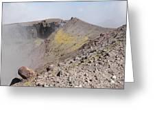 Degassing North Crater With Fumarolic Greeting Card