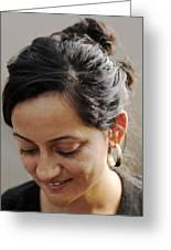 Demure Smile Greeting Card by Kantilal Patel