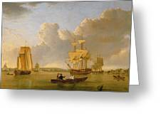 Deptford On Thames With A Distant View Of Greenwich Greeting Card by John of Hull Ward