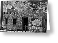 Desert Castle Black And White Greeting Card