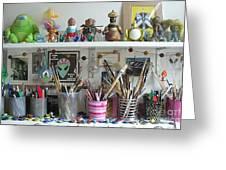 Detail Of My Shelves Brooklyn Alien Art Greeting Card by Kristi L Randall