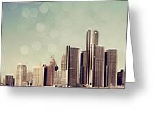 Detroit Dreamy Skyline Greeting Card