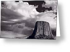 Devils Tower Wyoming Bw Greeting Card