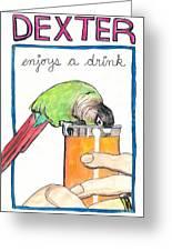 Dexter Enjoys A Drink Greeting Card