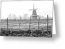 Dezwaan Windmill In Holland Michigan During November Greeting Card