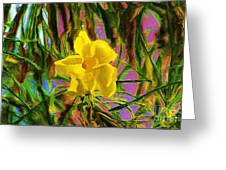 Digital Painting Of Yellow Orchid Greeting Card
