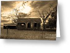 Dilapidated Old Farm House . 7d10341 . Sepia Greeting Card
