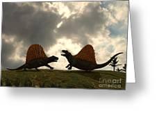 Dimetrodon Fight Over Territory Greeting Card