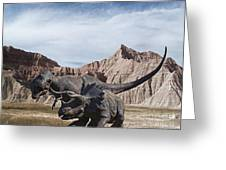 Dino's In The Badlands Greeting Card